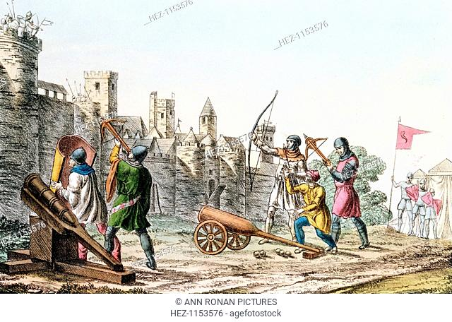 English troops attacking a French town, Hundred Years War, 1337-1453 (c1830). The English besiegers are armed with early cannon and both longbows and crossbows