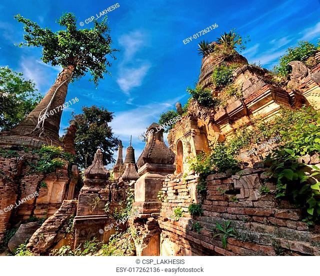 Stupas of Shwe Indein Pagoda. Burma