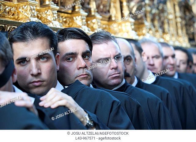 Holy Week procession, Cofradía de Monte Calvario, Malaga, Andalusia, Spain