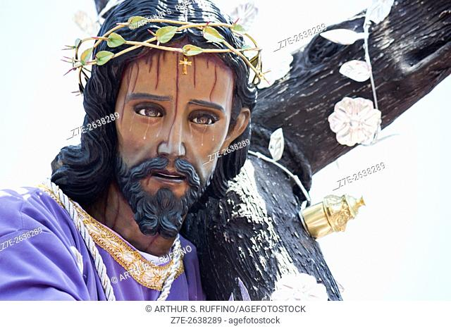 Detail of statue of Christ carrying the cross. Lenten procession of Jesus of Nazareth sponsored by the church of Saint Ann (Procesion de Jesus Nazareno de la...