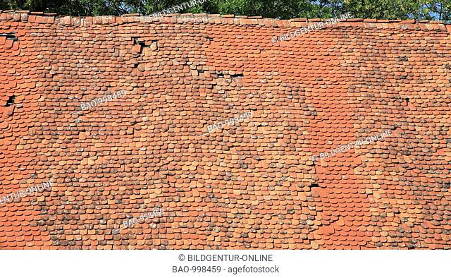 old roof with flat tiles