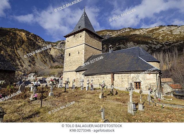 iglesia parroquial, Sin, Sobrarbe, Huesca, Aragón, cordillera de los Pirineos, Spain