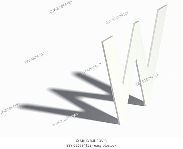 Drop shadow font. Letter W. 3D render illustration isolated on white background