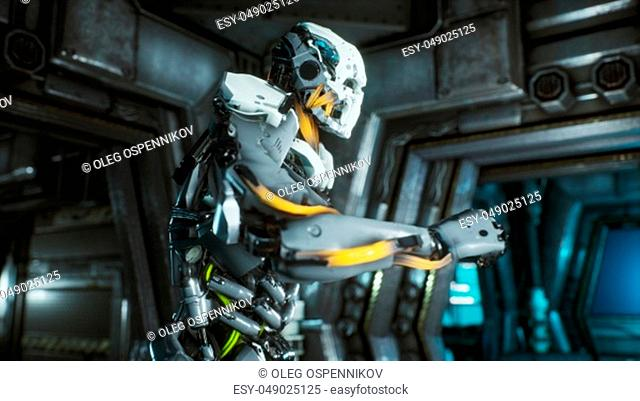 Robot soldier runs through a futuristic Sci-Fi tunnel with sparks and smoke, interior view