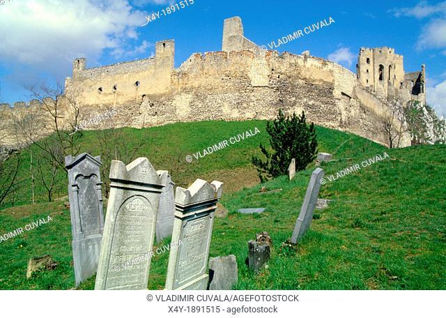 Old derelict jewish gravestones near the ruins of castle Beckov, Slovakia