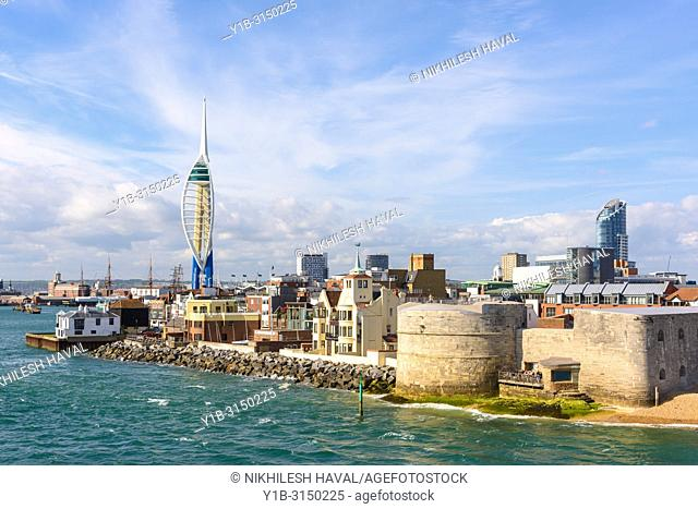 Spinnaker Tower & Round Tower, Portsmouth, Hampshire, UK