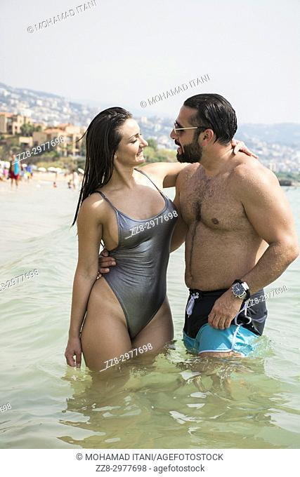 Man and woman in the Mediterranean sea