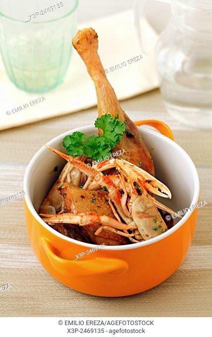 Chicken with Dubln bay prawns
