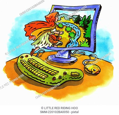 Little Red Riding Hood jumping into computer monitor scene