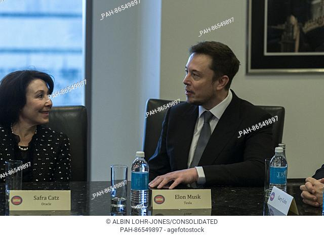 Tesla CEO Elon Musk is seen in attendance at a meeting of technology chiefs in the Trump Organization conference room at Trump Tower in New York