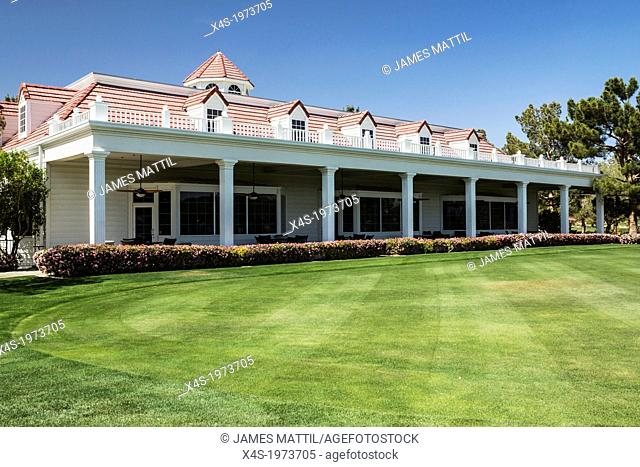 Primm, Nevada, USA - April 25, 2013: A stately golf course clubhouse and lush lawn welcomes tournament players to Primm Valley in Primm Nevada
