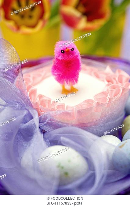 close up of single pink chick on top of a square easter cake tied with a purple chiffon bow surrounded by chocolate eggs and red and yellow tulip flowers