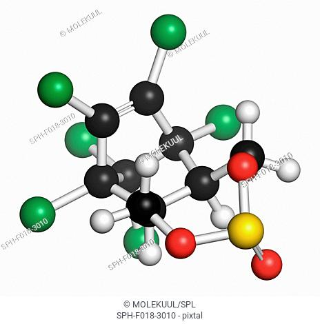 Endosulfan insecticide molecule. Banned in many countries due to toxicity. Atoms are represented as spheres with conventional colour coding: hydrogen (white)