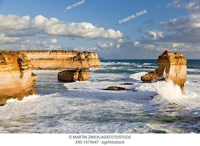 The coastline near Loch Ard Gorge, looking towards the sea stacks called 12 Apostles, Great Ocean Road, Australia The Loch Ard was a three-masted clipper...