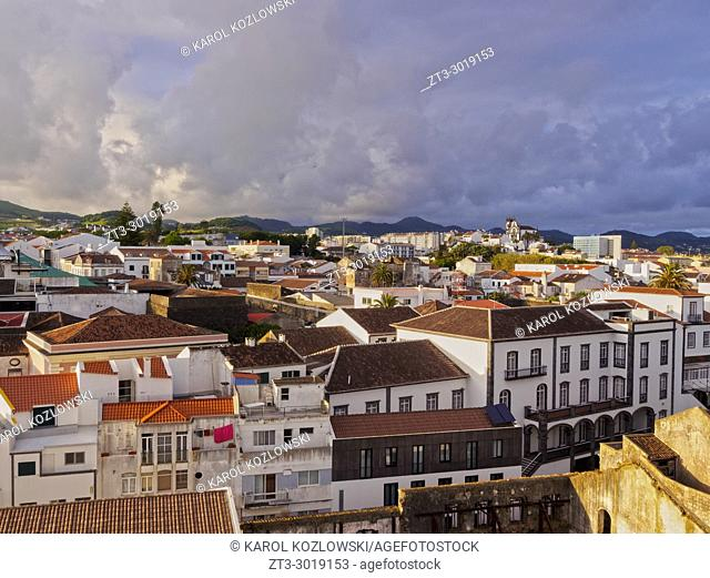 Ponta Delgada at sunset, elevated view, Sao Miguel Island, Azores, Portugal