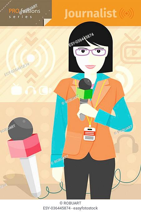 Profession series with young woman journalist in glasses with badge holding microphone