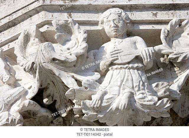 Column sculpture on Doges' Palace Venice Italy