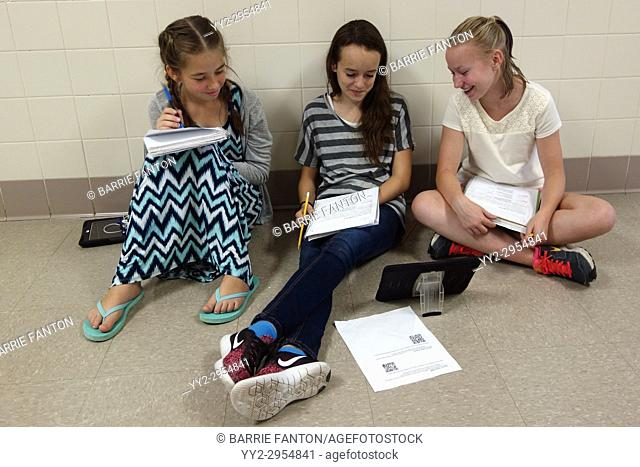 8th Grade Girls Looking at iPad for Schoolwork, Wellsville, New York, USA