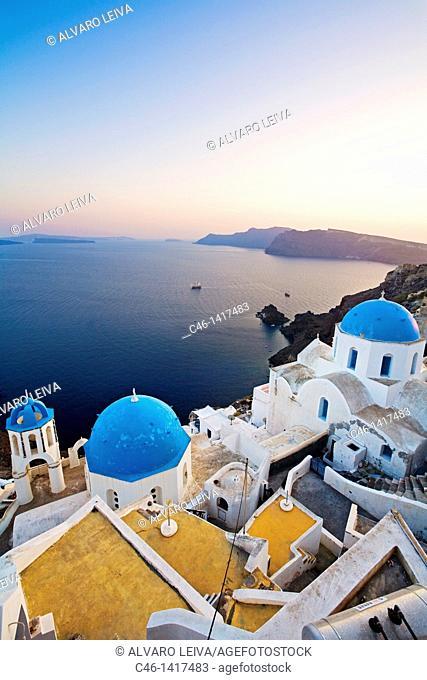 Churches in Oia, Santorini island, Cyclades Islands, Greece