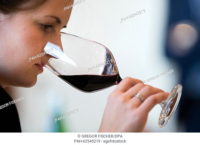 A participant sniffs a red wine in order to determine the aromas during a wine tasting within the framework of the 2015 Award for Great Hospitality in Berlin