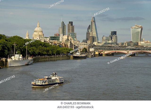 Cityscape across Waterloo Bridge; London, England