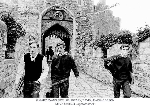 Three schoolboys at Atlantic College (United World College of the Atlantic), St Donat's Castle, Llantwit Major, Glamorgan, South Wales