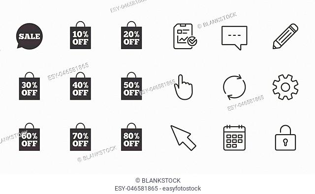 Sale discounts icons. Special offer signs. Shopping bag, price tag symbols. Chat, Report and Calendar line signs. Service, Pencil and Locker icons