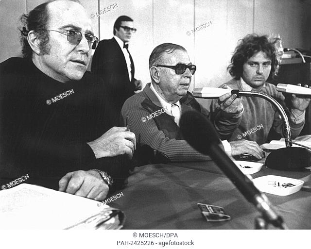 French philosopher and author Jean-Paul Sartre (m), lawyer of Baader-Meinhof Klaus Croissant (l) and French former student leader Daniel Cohn-Bendit (r)