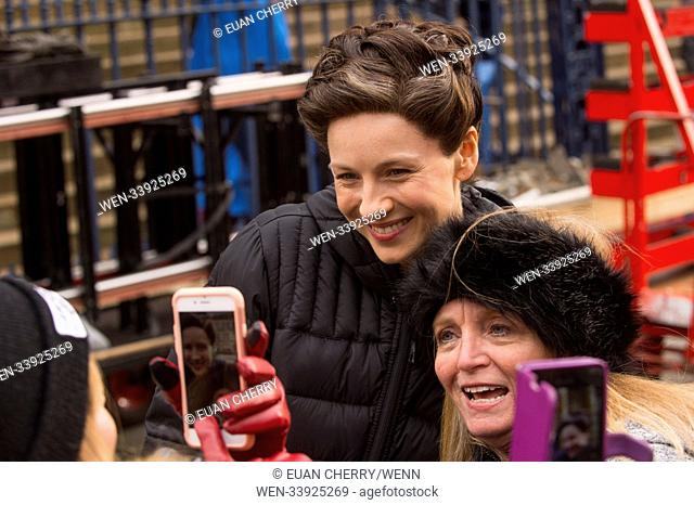 Outlander cast and crew are spotted filming in Glasgow for the 4th season. Featuring: Caitriona Balfe Where: Glasgow, United Kingdom When: 14 Mar 2018 Credit:...