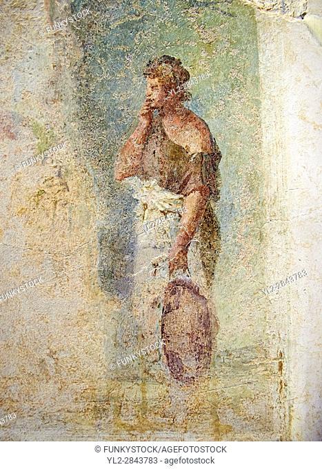 Roman fresco wall decoration frangmet from a Rome Villa, Rome. Museo Nazionale Romano ( National Roman Museum), Rome, Italy