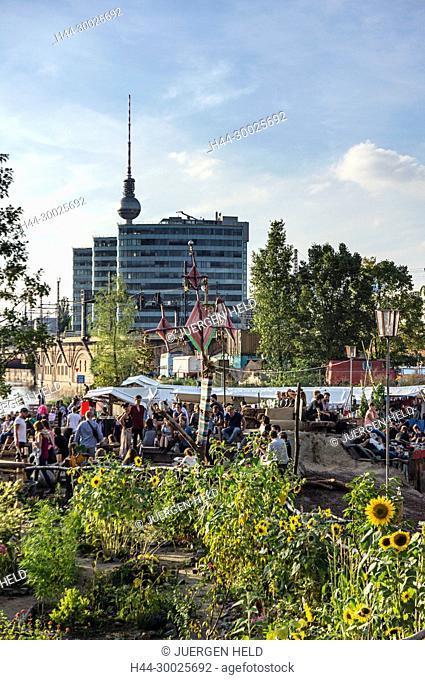 Beach Bar and Open Air Flea Market Katermarkt, Riverside Spree, Berlin, Germany