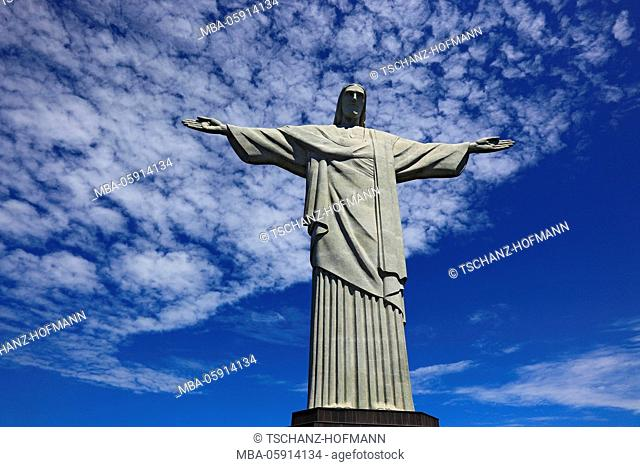Cristo Redentor, Christ the saviour, Rio de Janeiro, Brazil, on the mountain Corcovado at the Tijuca woods at the south part of the town