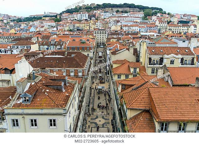 Aerial view of the downtown of Lisbon Portugal Europe