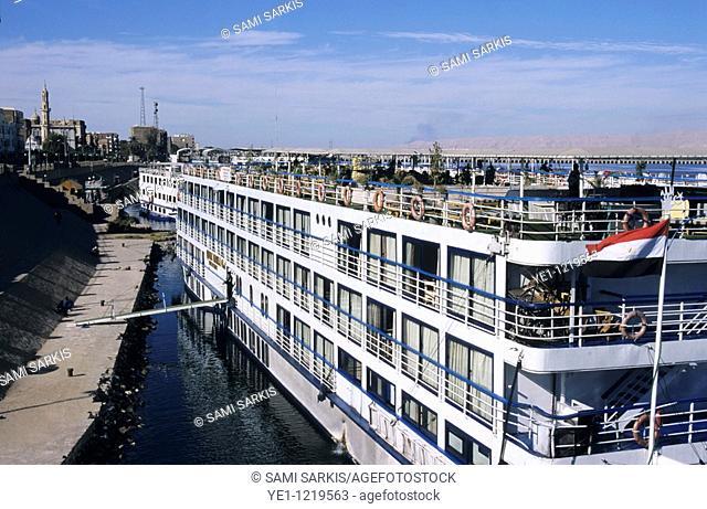 Cruise ship docked on the Nile River, Esna, Egypt