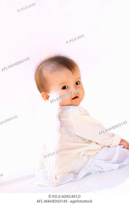 Mixed-race newborn portrait