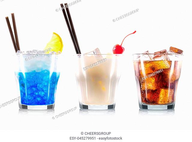 Set of cocktails with decoration from fruits and black straw isolated on white background. Clipping path