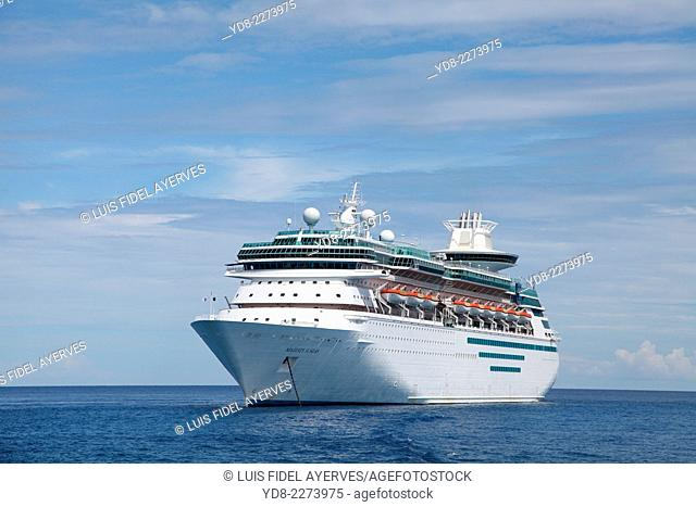 Majestic of the Seas Cruises Royal Caribbean International anchored near Coco Cay in Bahamas
