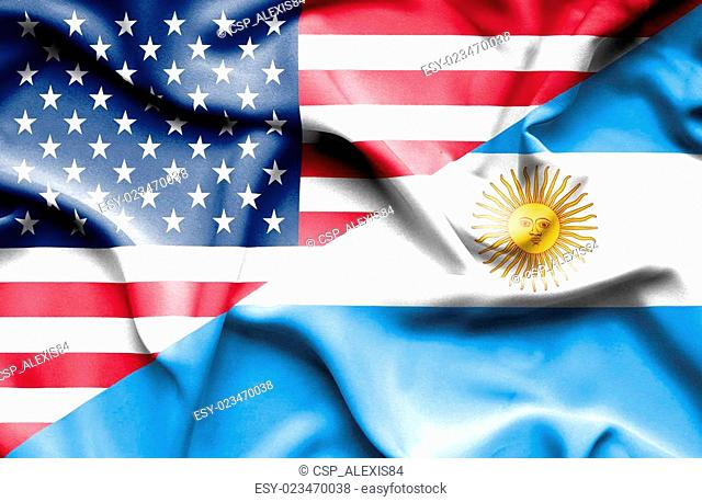 Waving flag of Argentina and ,USA,American flag,America flag,USA flag, USA