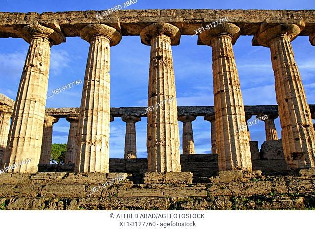 doric columns, Temple of Ceres, archaeological park, Paestum, Italy