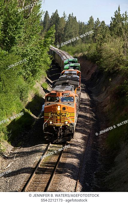 A Burlington Northern Santa Fe mixed manifest freight train heading west near Overlook siding in Spokane, Washington, USA