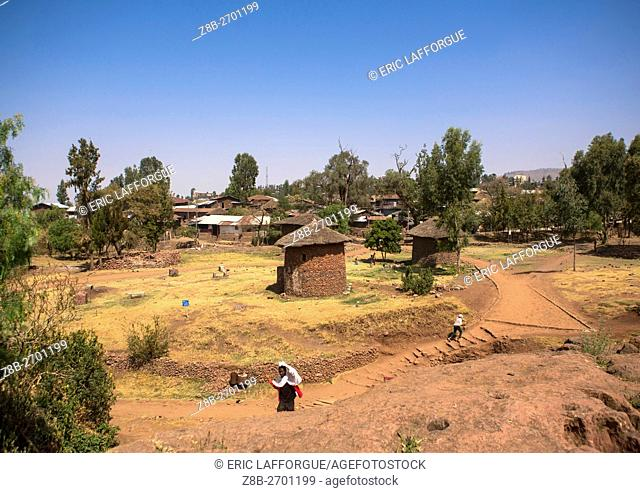Ethiopia, Amhara Region, Lalibela, traditional houses for the monks