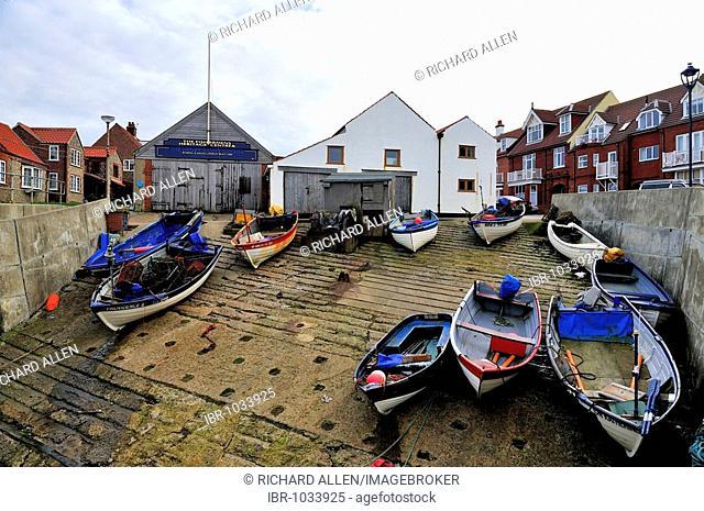 Fishing boats at Sheringham on the Norfolk coast, England, United Kingdom, Europe