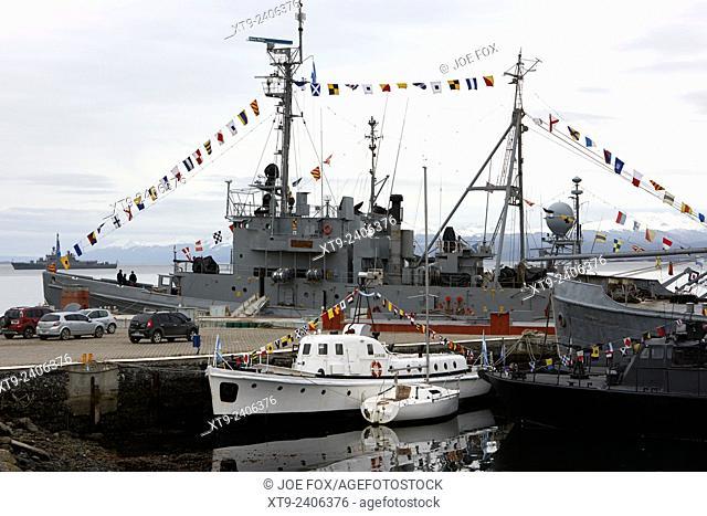 ara suboficial castillo a-6 warships and patrol boats tied up at armada argentina argentine naval base almirante berisso Ushuaia Argentina