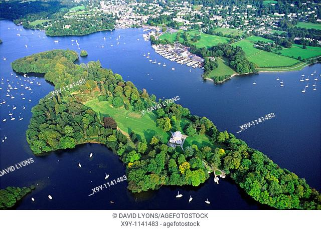 Lake Windermere in the Lake District National Park, Cumbria, northwest England  Aerial  Belle Isle and town of Bowness