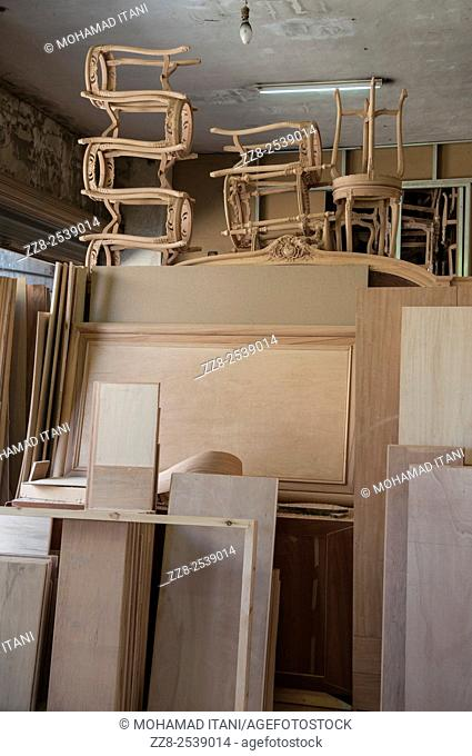 Wooden furniture in a carpenter's warehouse Saidon Lebanon