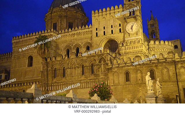 Palermo at night, the dome and clock tower of Palermo Cathedral (Duomo di Palermo), Sicily, Italy, Europe