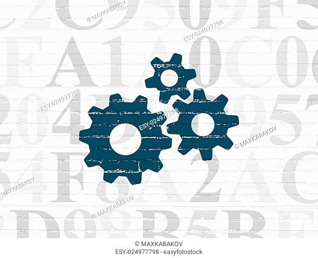 Web development concept: Painted blue Gears icon on White Brick wall background with Hexadecimal Code, 3d render