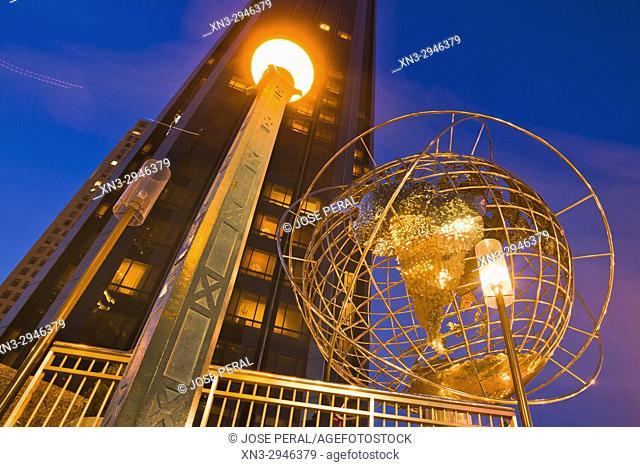 Trump International Hotel and Tower, earth globe, Columbus Circle, Midtown, Manhattan, New York City, USA