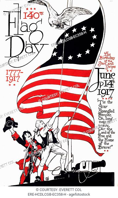 Poster for 140th flag day, 1777-1917, the birthday of the stars and stripes, the text continues: 'Tis the Star Spangled Banner, oh, long may it wave
