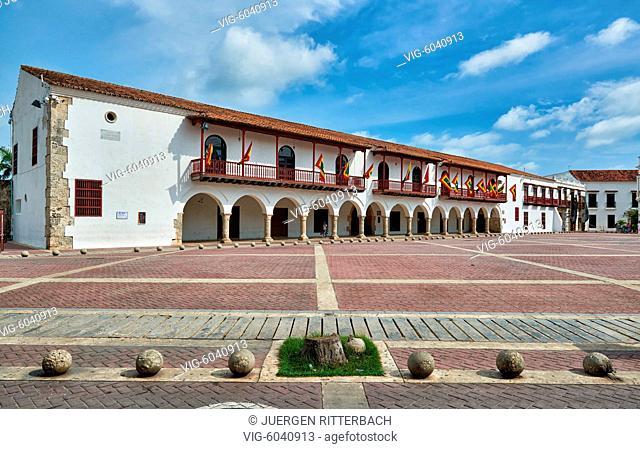 historical facade at Plaza de la Aduana, Cartagena de Indias, Colombia, South America - Cartagena de Indias, Colombia, 27/08/2017